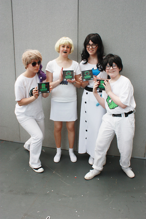 Dave Strider, Rose Lalonde, Jade Harley & John Egbert from Homestuck. Photo by Miarichan Event: London Film and Comic Con 2012 Submitted by: hildaglitz