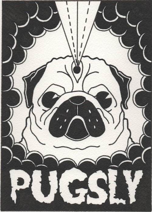 I present to you the newest Pugsly Sticker Co.. graphic! Featuring amazing artwork by Eric Solis. Stickers n stuff coming in the near future, so keep your eyes peeled! For more of Eric's art, click here. http://www.etsy.com/shop/Overthrown http://ericpsolis.tumblr.com