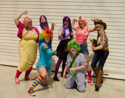 Fluttershy, Rarity, Rainbow Dash, Twilight Sparkle, Pinkie Pie, Spike & Applejack from My Little Pony: Friendship is Magic Costumes made by Hildaglitz with help from the rest of the group. Photo by unknown Event: MCM Expo May 2012Submitted by: hildaglitz