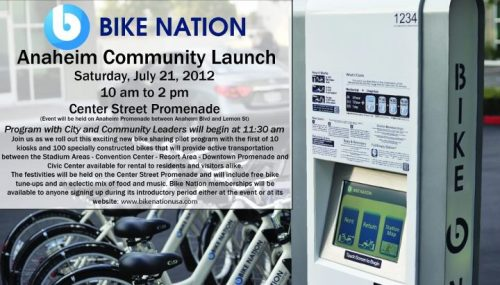 Bike share program in Anaheim kicks off this Saturday, July 21st at the Center Street Promenade. Stop by for food, music, and free bike tune-ups! More info here.