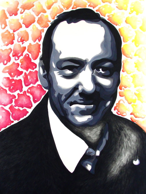 Gotta love Kevin Spacey!  My first gouache painting.