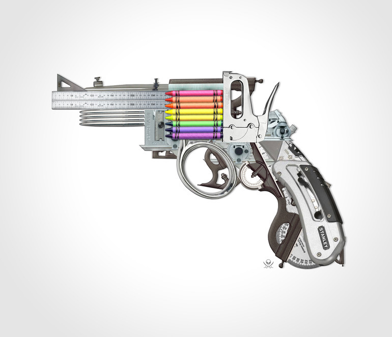 "laughingsquid:  Creative Gun, An Imagined Art Weapon That Uses Crayons For Ammo  ""Creative gun"" art"