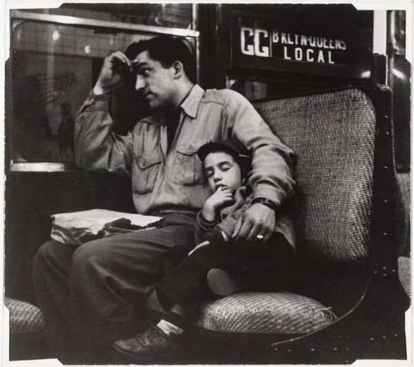 hotparade:  Lou Bernstein -  Father and Son on Subway, 1958
