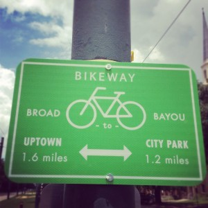 Crescent City cycling just got easier with the help of community groups Bike Easy and Neighborland! Click the sign to see how!