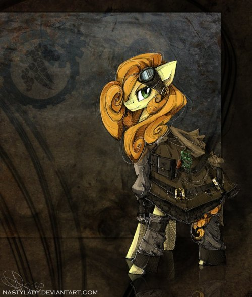 theworldbeyondthevoid:  Steampunk ponies by nastylady. They are just so epic, love them. Love that she used the Steampunk theme to give Lyra hands ^^
