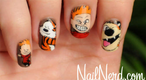Nail art based on Bill Watterson's Calvin & Hobbes comics