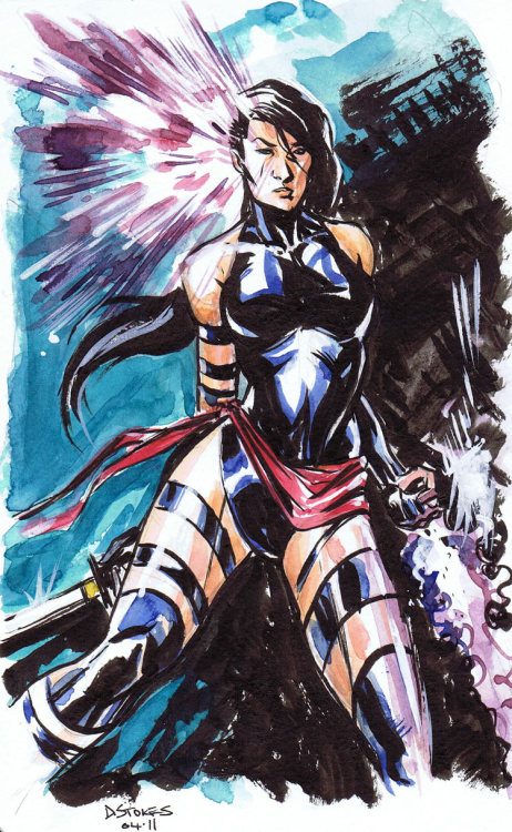 Psylocke Watercolour Sketch by *stokesbook