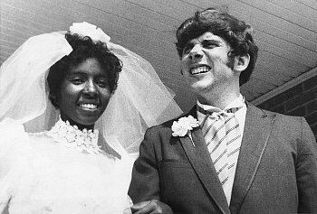 "inthylove:  First Interracial Marriage (apart from Mildred & Richard Loving's supposed ""illegal marriage"") ""Newlyweds Berta and Roger Mills, shown here on their wedding day 8/2/70, are currently living in a modest Jackson apartment. They were married after a legal fight against the state law prohibiting interracial marriage""."