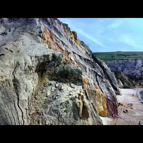 #Colour sand #cliffs at Alum Bay, #isleofwight #beach #sand #water #sea #waves #wave #ocean #summer #sun #sunny #seaside #blue #yellow #view #nature #TAGSTAGRAM .COM #instabeach #beautiful #instasummer #beauty #horizon #love #coast #sky #cloud  (Taken with Instagram)