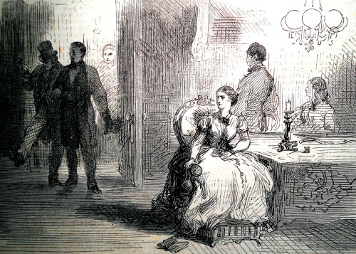 treselegant:  'Mrs Millington's anguish at the appearance of her husband.' Bow Bells, 1866.