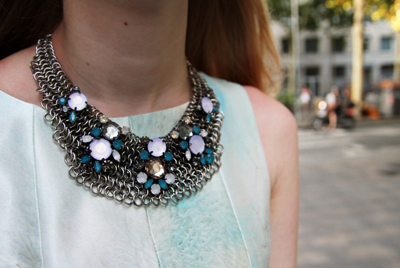 Statement necklaces are (still) all the rage and this chain style piece from Mango is a favorite of blogger Carolina Engman. Paired with a sky blue dress the colours match like a dream!