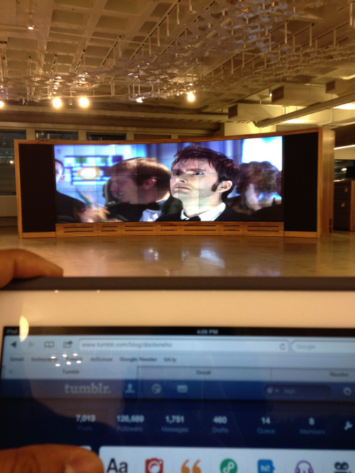 btw, this is how we tumbl while at the BBC America office: with Doctor Who playing on a ginormous screen before us. Series Three: 'The Lazarus Experiment' is on the channel now.