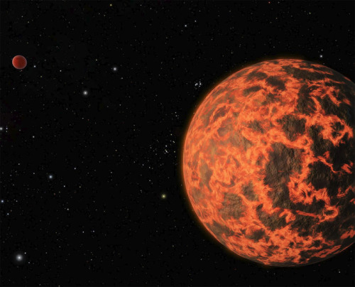 discoverynews:  Exoplanet Neighbor is Smaller than Earth Astronomers believe they have found a planet about two-thirds the size of Earth orbiting a star 33 light-years away, a virtual neighbor in cosmic terms. Don't pack your suitcase yet. The planet, known as UCF-1.01, is not very hospitable, with temperatures that exceed 1,000 degrees Fahrenheit, a surface that may be volcanic or molten and little if any atmosphere. keep reading Image: Artist's rendering of suspected exoplanet UCF-1.01. Credit: NASA/JPL-Caltech/R. Hurt