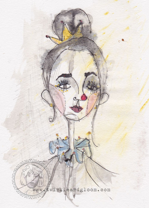 twinkleandgloom:  Quick Lady Clown ink and paint drawing. www.twinkleandgloom.com