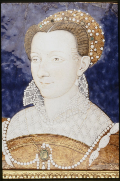 Portrait of a Woman, possibly Anne d'Este, mother of Catherine de Lorraine, ca. 1555-1560. By Léonard Limousin.
