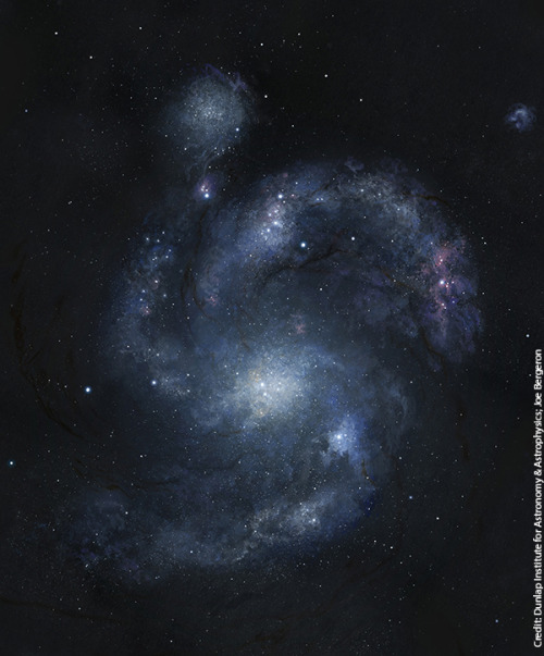 "ikenbot:  Oldest Spiral Galaxy in Universe Discovered Illustration: An artist's rendering of galaxy BX442, which is 10.7 billion light-years from Earth, and its companion dwarf galaxy. Credit: Dunlap Institute for Astronomy & Astrophysics/Joe Bergeron Astronomers have discovered the universe's most ancient spiral galaxy yet, a cosmic structure that dates back roughly 10.7 billion years, a new study reveals. The galactic find, discovered by researchers using NASA's Hubble Space Telescope, comes as something of a surprise. Other galaxies from such early epochs are clumpy and irregular, not strikingly symmetrical like the newfound spiral, which broadly resembles our own Milky Way. ""The fact that this galaxy exists is astounding,"" study lead author David Law, of the University of Toronto, said in a statement. ""Current wisdom holds that such 'grand-design' spiral galaxies simply didn't exist at such an early time in the history of the universe."""