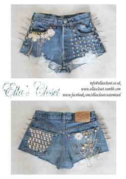 For Sale  Size 6 Levis customised shorts by Ella's Closet Please contact if interested in purchasing. info@ellascloset.co.uk