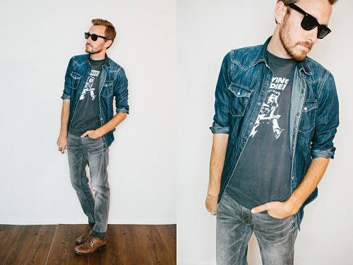 July 18, 2012. Shirt:  American Eagle AE Denim Western Shirt - c/o American EagleT-Shirt: Flyin' Eddie t-shirt from my closet. ~$15 - eBay about 9 years agoJeans: AE Grey Vintage Wash Skinny Jean - c/o American EagleBoots: Topman - $100 (similar-ish… sorry, it's not boot season lol)Sunglasses: Faux Ray Ban Wayfarer - $5 (St. Marks Place in NYC) View on: Lookbook.nu | Chictopia