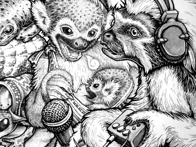 Junta Detail, Momma and independent media characters.  Beehive Design Collective Mesoamerica Poster Detail *These drawings are made collectively by many people in the beehive, to see more images or learn the facts please check out our website!* www.beehivecollective.org