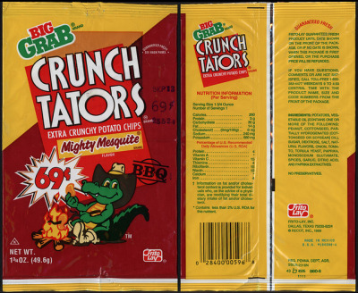 Frito-Lay - Crunch Tators - Mighty Mesquite - 69-cent Big Grab potato chip bag package - 1988 by JasonLiebig on Flickr.Grunge Taters