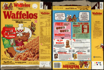 Ralston - Waffelos maple flavor - Free Whoppers trial-size - cereal box - 1982 by JasonLiebig on Flickr.
