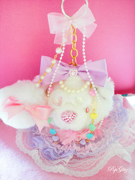 Fairy Kei Sweet Lolita BIG kitten Keychain by Popglitzplushies