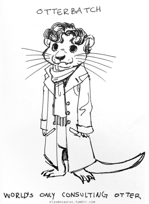 elasmosaurus:  otterbatch/otterlock sketch that I gave to the Sherlock cosplayer at the sdcc meetup.  THIS IS JUST TOO ADORABLE!!