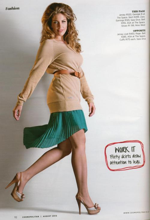 Cosmopolitan Magazine Aug 2012 South Africa Photographer: Aubrey Jonsson  Stylist: Mbali Soga Model: Jemma G at Base Model Agency/ 12+ UK Model Management