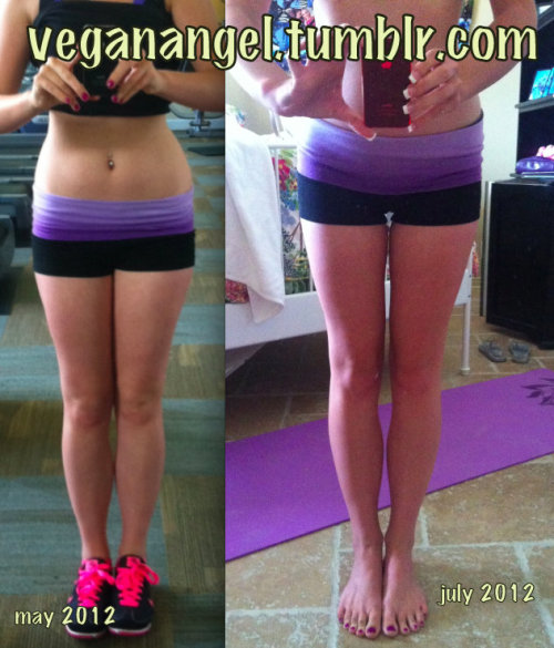 fukcyeahbeforeandafters:  amazing what can be done in just 2 months. this was done through a healthy vegan diet, in combination with running! i've never felt HEALTHIER or happier :) http://veganangel.tumblr.com/
