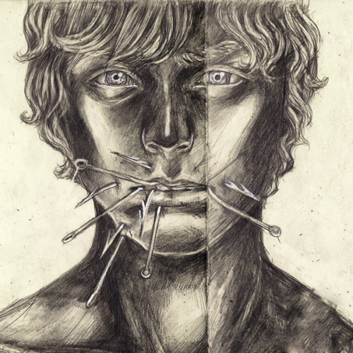"Fishhook, Graphite on Moleskine, 4"" x 4"", 2012."