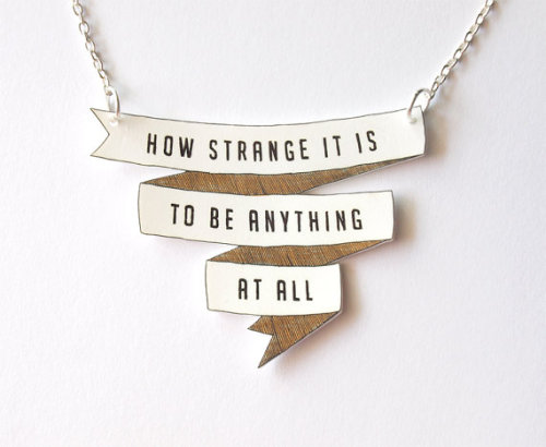 etsy:  Love: How Strange It Is Banner Necklace by rare indeed.  Indeed.