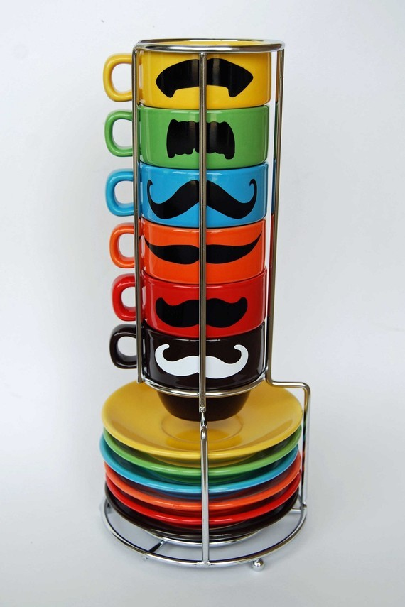 Mustache Espresso Mugs and Saucers An espresso cup and saucer that is sure to make your morning! Or at least make you feel more masculine, maybe? Sold on Etsy.