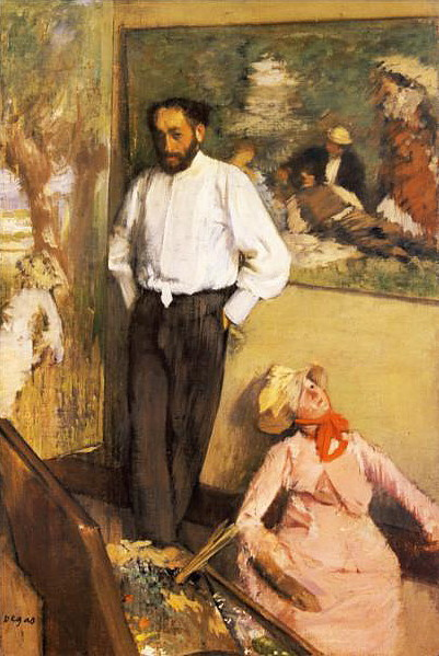 "Edgar Degas (1834-1917), Portrait of Henri Michel-Levy, c. 1878. Museu Calouste Gulbenkian, Lisbon. ""The subject - the artist in his studio - in this case the painter Henri Michel-Lévy, whom Degas met around 1867, is here given a particularly interesting approach. The mannequin on the floor is mirrored by the figure on the painting The Regattas, to the left of Michel-Lévy – seems to suggest an original interpretation of the relationship between truth and illusion. Set inside a contained, lonely space, the subject's off-centre position and unexpected perspective disturb the otherwise rather static work. This unique scene also – perhaps mainly – projects an image of Degas as a lucid, detached and pessimistic observer of daily life."""