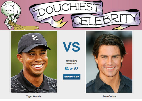 Douchiest Celebrity [Click to begin voting] The entertainment industry is full of people who just seem like real douchebags, but we want to know who the biggest douche is. Vote now! The official voting period ends Sunday July 22, 2012 at 12:00AM so get your votes in now.