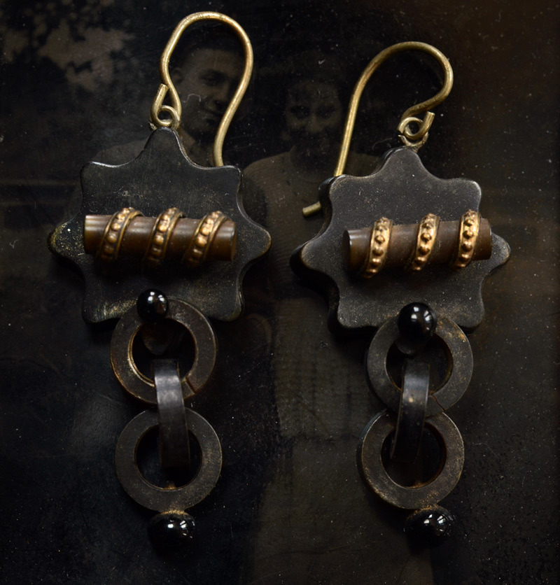 1860-70s Pressed Horn Chain Earrings, Gold Filled, $450
