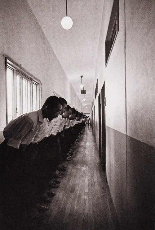 Company training: students in morning formation. Nagano Shigeichi, 1964