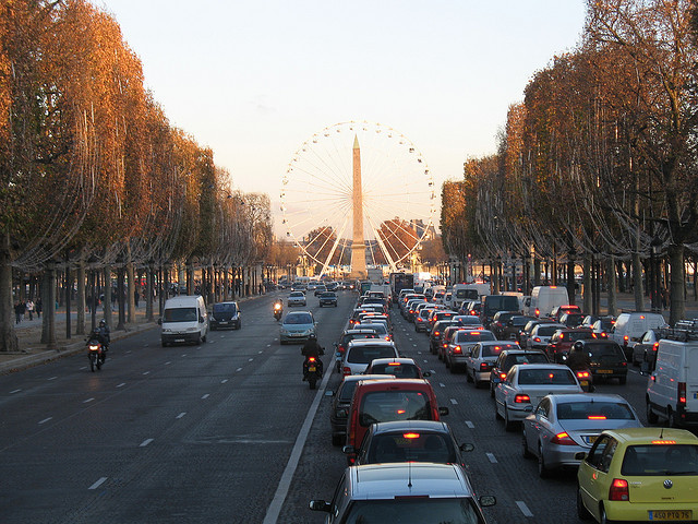 | ♕ |  Paris sunset - Avenue des Champs-Elysees  | by © Jon Barbour