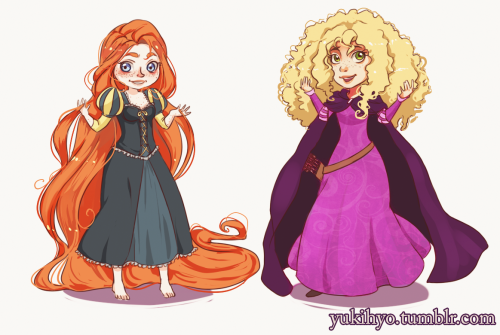 yukihyo:  Brave/Tangled mix up. Merida in Rapunzel's design and vise versa. Just some crazy idea I doodle awhile back. It's sort of a tribute to http://skyneverthelimit.tumblr.com/. I really love her tangled/rapunzel doodles. Looking at her work,I wondered how different it would've been if Brave and Tangled switched designs 8D SO YEAH. Basically, Merida as Rapunzel and Rapunzel as Merida  Merida © Disney/Pixar/Brave Rapunzel © Tangled/Disney Art © Me