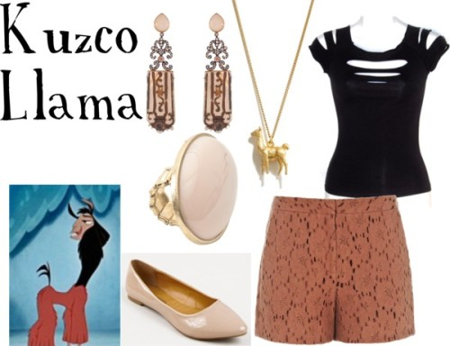 "Kuzco the Llama from ""The Emperor's New Groove"" Goth top / Reiss floral lace shorts / Flat heels / Mother of pearl earrings / Madewell vintage looking jewelry / Ring, $12"