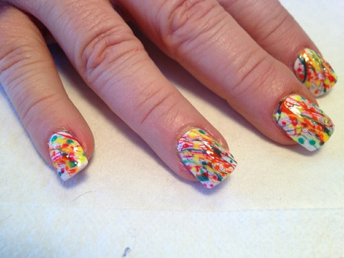 Splatter mani. Messy as hell but cool effect. :)