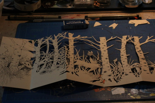 bone a day, work in progress paper cut for accordion book, little red riding hood, 2012 wendy wallin malinow inkhead