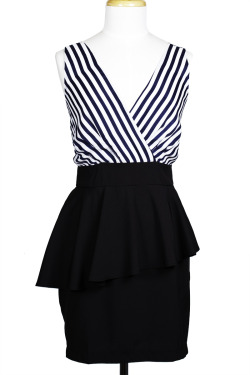 Striped Peplum Dress