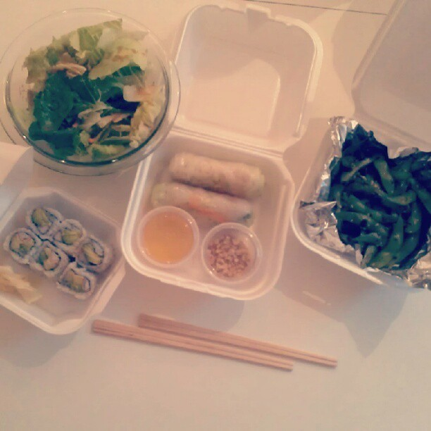 California roll, Shrimp Nam Chao, and sauteed edamame with a salad on the side. #imahappygirl (Taken with Instagram)