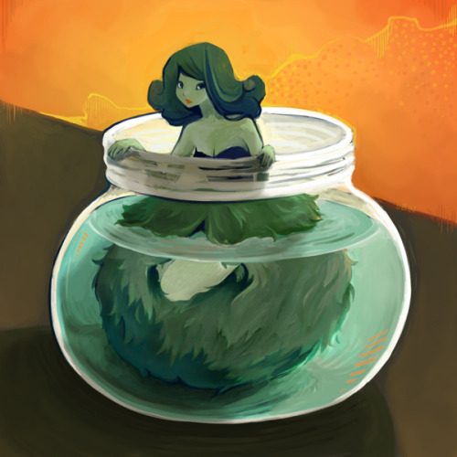 Painted that marimo sketch from last week. Yay!  It looks a little different.