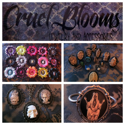 cruelblooms:  Cruel Blooms Giveaway! To get ready for the adding of 30+ new items we are doing a massive giveaway! Here is how to enter: 1. You MUST be following us.  2. Reblog as much as you want, but please no more than 3-5 times a day. We don't want you flooding your followers dashboards and have them get sick of our stuff! 3. Likes are appreciated with anything we do, but they will not be counted. 4. Three people will be chosen at random. See below for prizes. PRIZES:  •First person chosen will get to choose one hair piece, one ring, one necklace and receive the bracelet shown. •Second person chosen will get second choice of one hairpiece and one ring. •Third person will have choice of a hairpiece or ring. Contest ends August 20th at midnight eastern time. Winners announced the 21st. If you have any questions, message us. Otherwise have fun and Re-blog on!