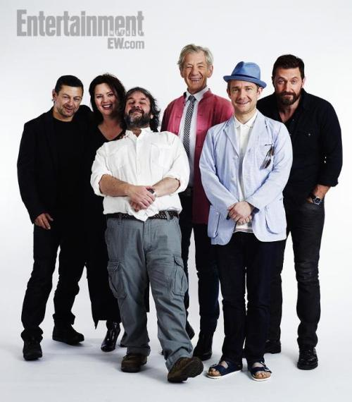 Martin Freeman with Andy Serkis, Phillippa Boyens, Peter Jackson, Sir Ian McKellen and Richard Armitage, photographed post panel for The Hobbit at San Diego Comic Con, exclusively for Entertainment Weekly.