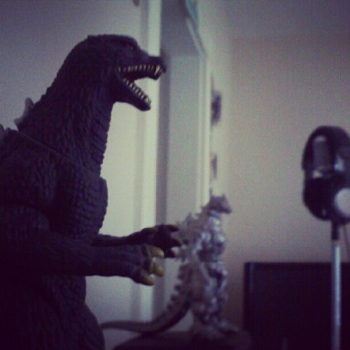 Godzilla and Mechagodzilla are my homeboys and the gaurdians of my studio. #Godzilla #Mechagodzilla #mic #MothLife #Transdusk (Taken with Instagram)
