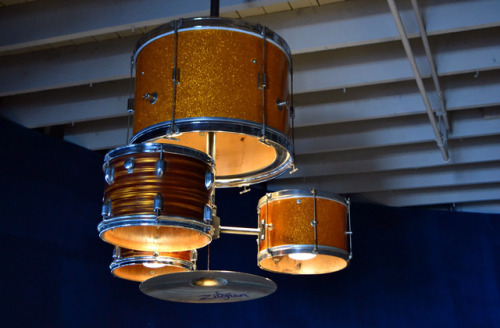 laughingsquid:  A Complete Drum Kit is Custom Made Into a Functional Chandelier