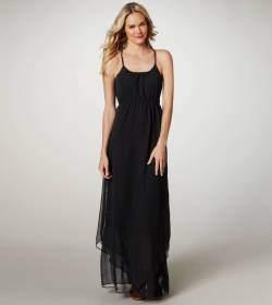 AE Chiffon Maxi Dress- American Eagle OutfittersAh, maxi dresses. They're breezy, light, beautiful, and incredibly difficult to flash people in. This piece cinches in the waist, then flows out to create a smooth silhouette. In addition, it's made from chiffon (instead of clingy jersey)!