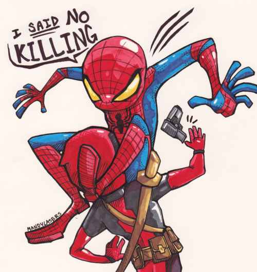 mandylasers:  professorfluffy:  mandylasers:  Spidey using his infamous crotch move to disarm Deadpool. Although I think we all know who really won in this situation.   Just seeing if I still know how to Prisma because my tablet cord might not get here for 3 more days! ; ~;   Like fathers like son.  ASDFGSAHJA